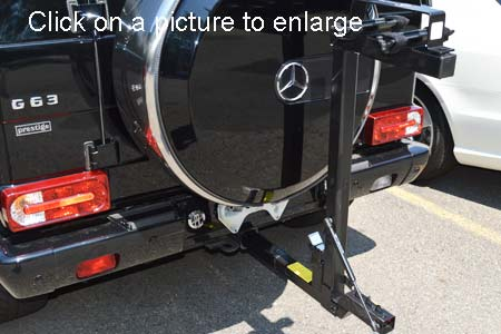 Mercedes g class trailer hitch tilting 2 bike rack for Mercedes benz bicycle rack